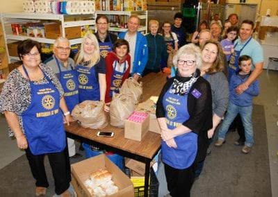 Helping with the Easter Hampers at the food bank.